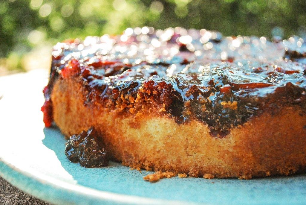 Blueberry plum upside-down cake