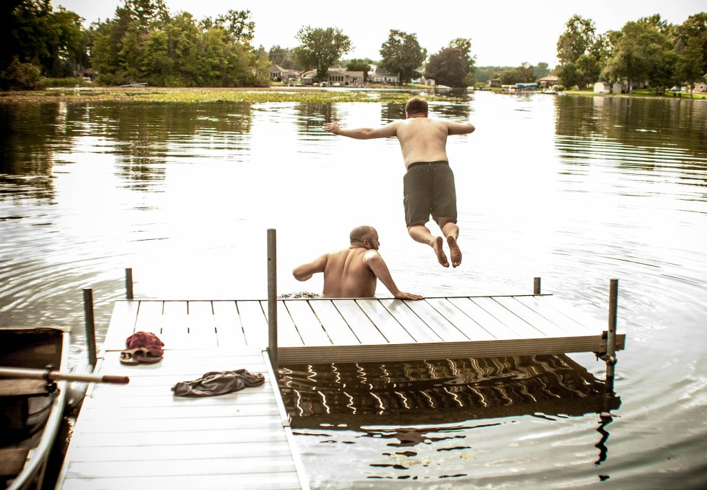 Jumping off the dock