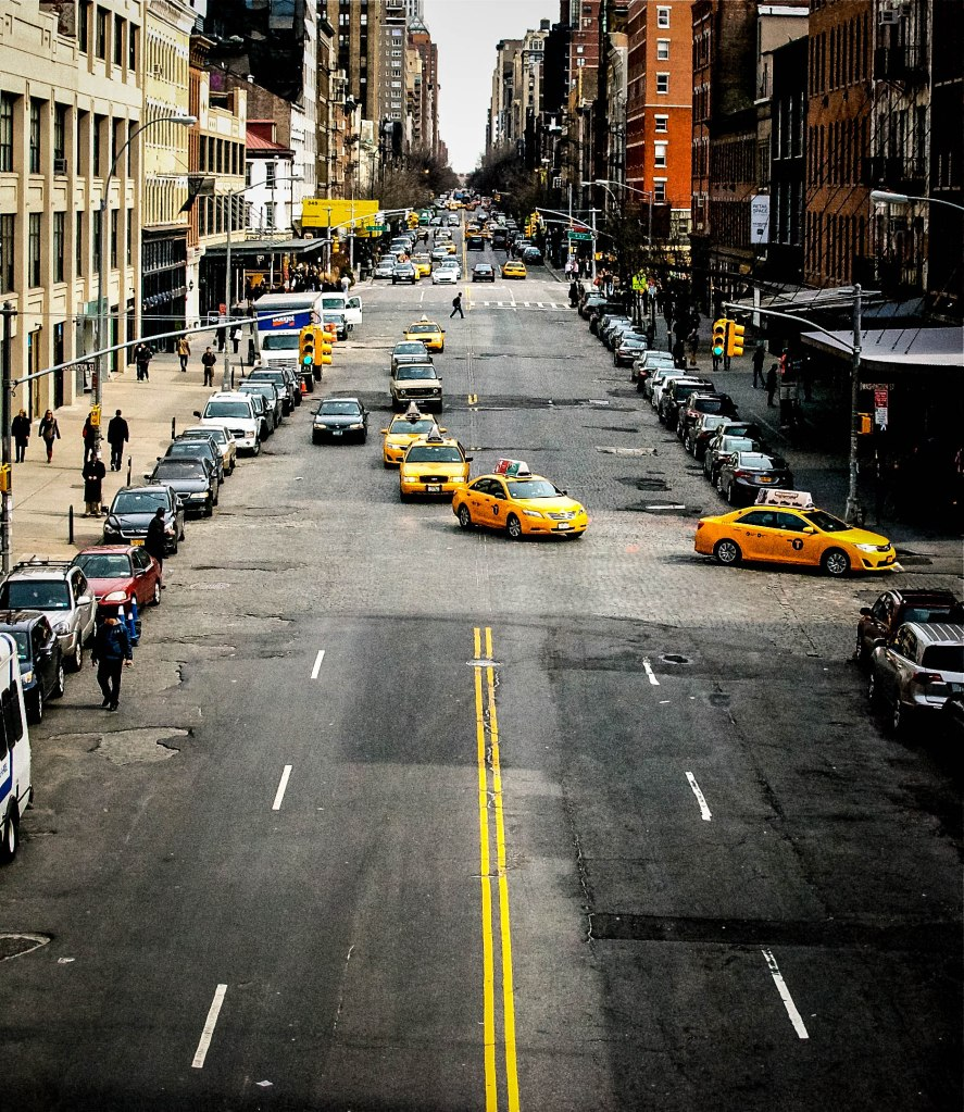 A line of taxis on West 14th
