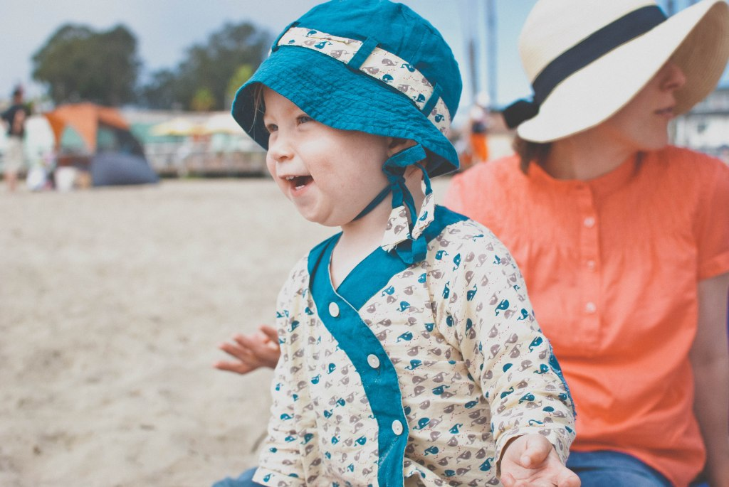 Beach baby in her french duds