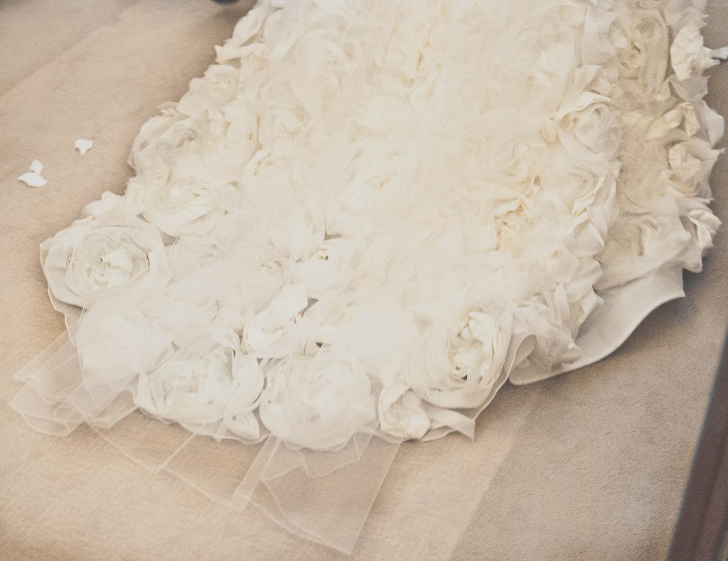 Gorgeous florets on the bridal gown train