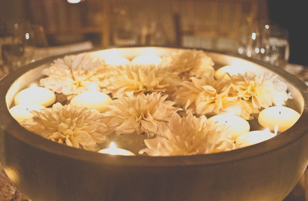 Other tables had these bowls of flowers and candles