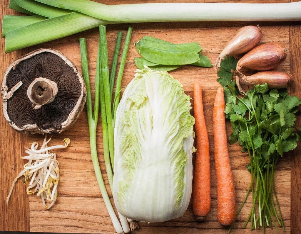 Leek, mushroom, bean sprouts, green onions, snow peas, napa cabbage, carrots, shallots, cilantro