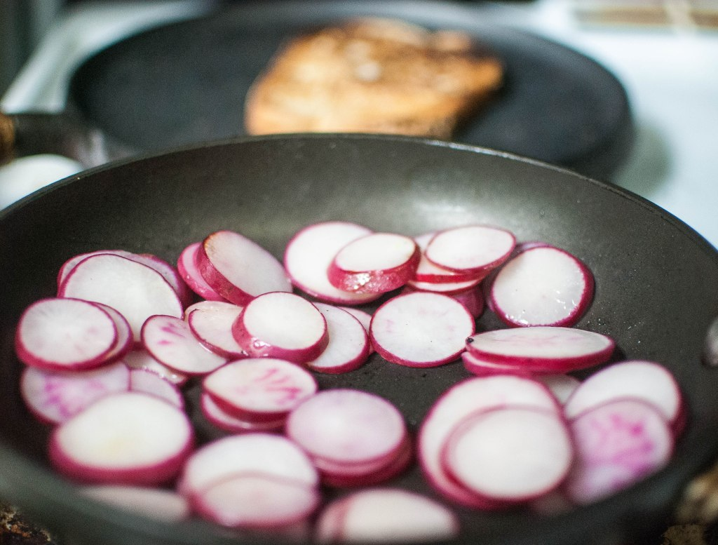 Sauteing radishes and toasting bread
