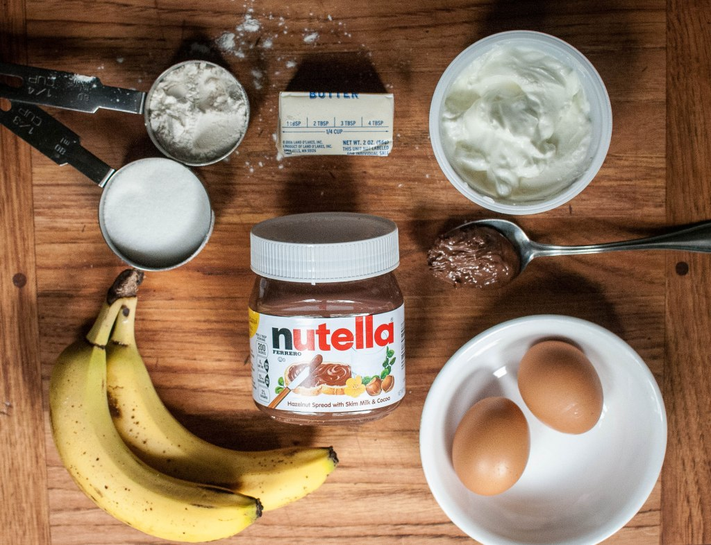 Sugar, flour, butter, yogurt, eggs, banana, nutella