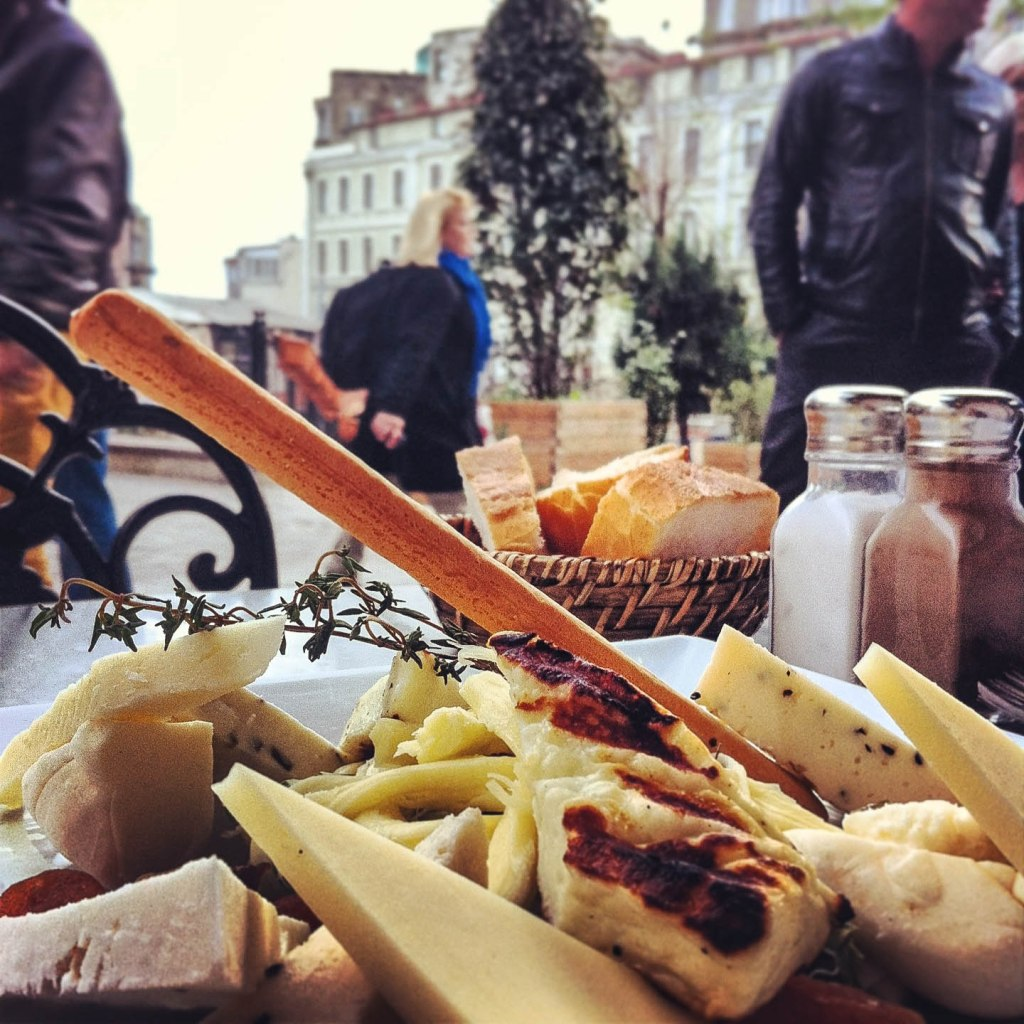 Cheese plate in Galata Square, Istanbul