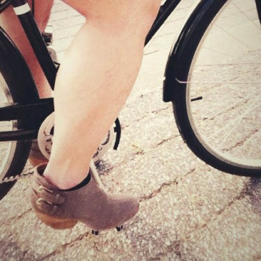 Biking in heels for the first time