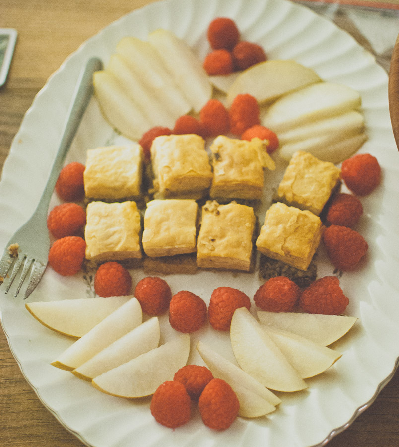 Baklava, pears, and raspberry dessert