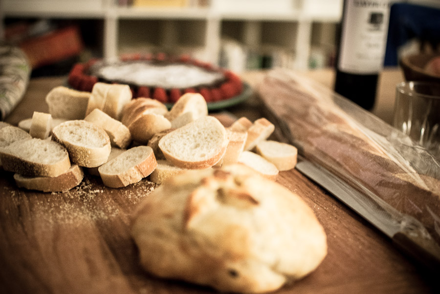 Baked brie and baguettes