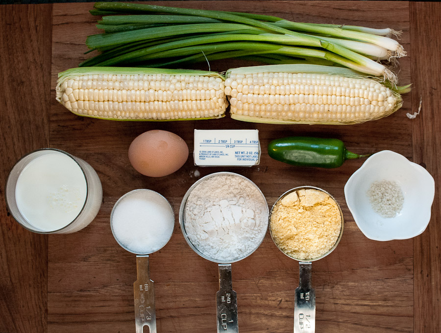 Green onions, corn, sea salt, cornmeal, flour, sugar, milk, egg, butter, jalapeno