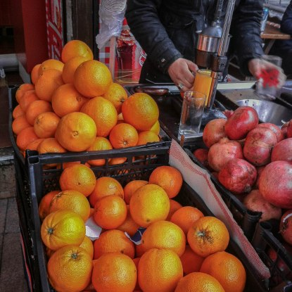 Fresh squeezed orange and pomegranate juice