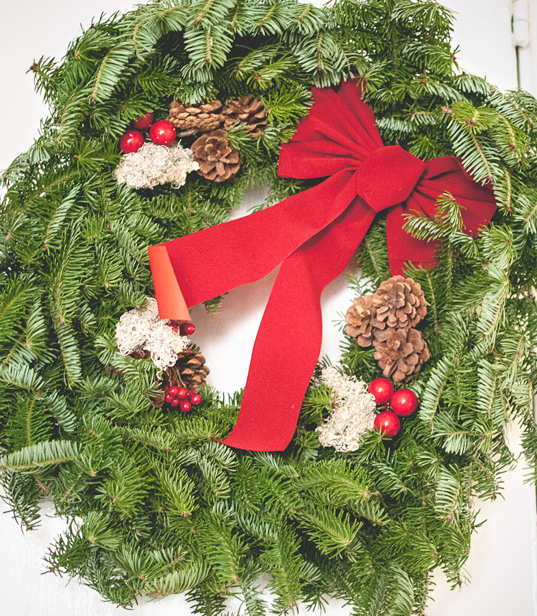 We were surprised to receive this fresh wreath from the Mister's Auntie.  What a great gift!