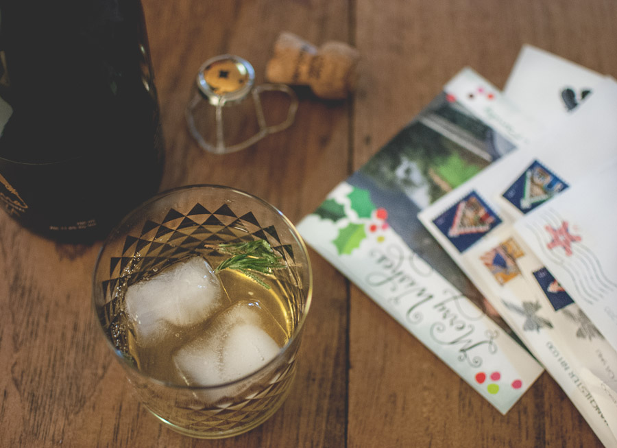 Enjoying a few last Christmas cards over champagne cocktails