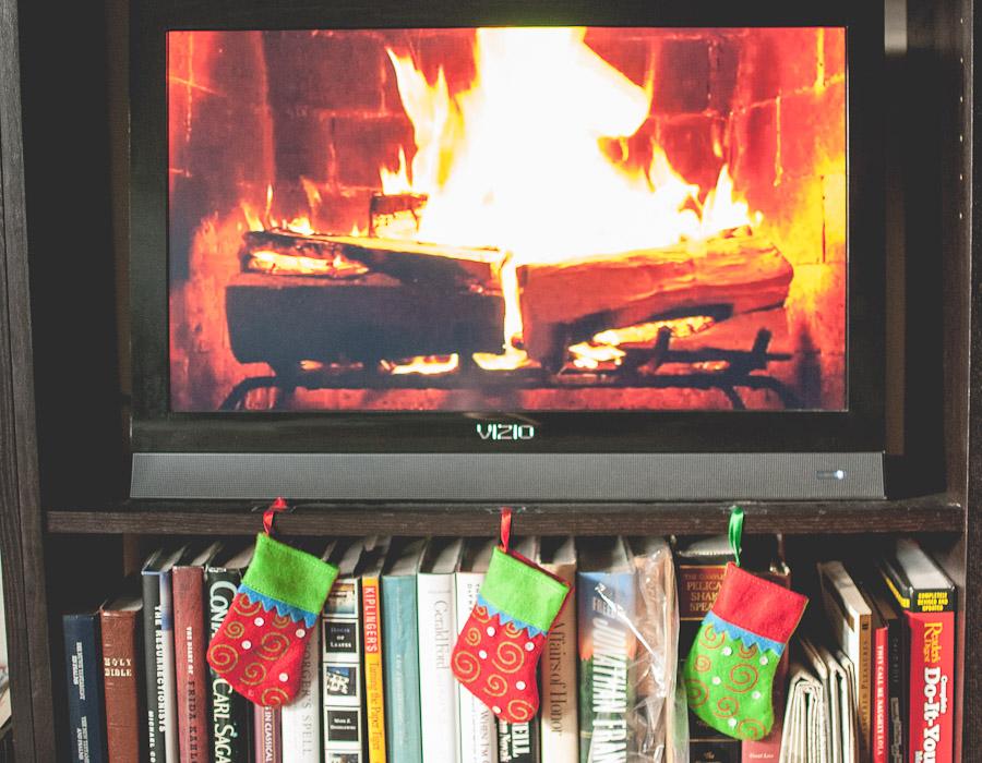 Roaring fire and mini stockings