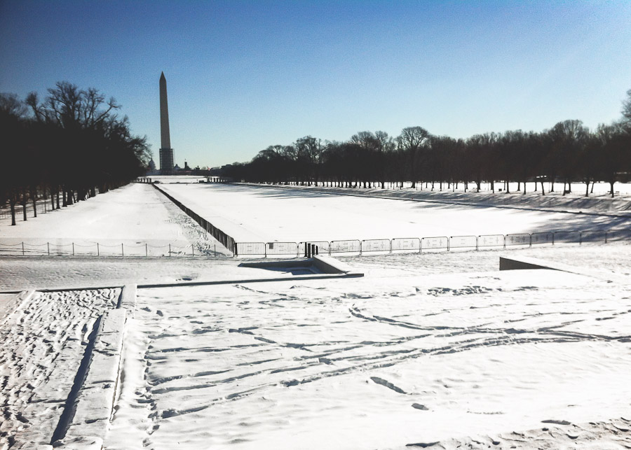 Snowy scene on the National Mall
