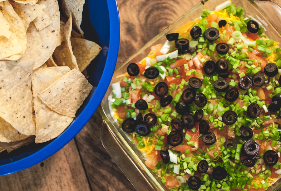 We kept it simple for the Super Bowl with baked chicken wings and a seven layer dip