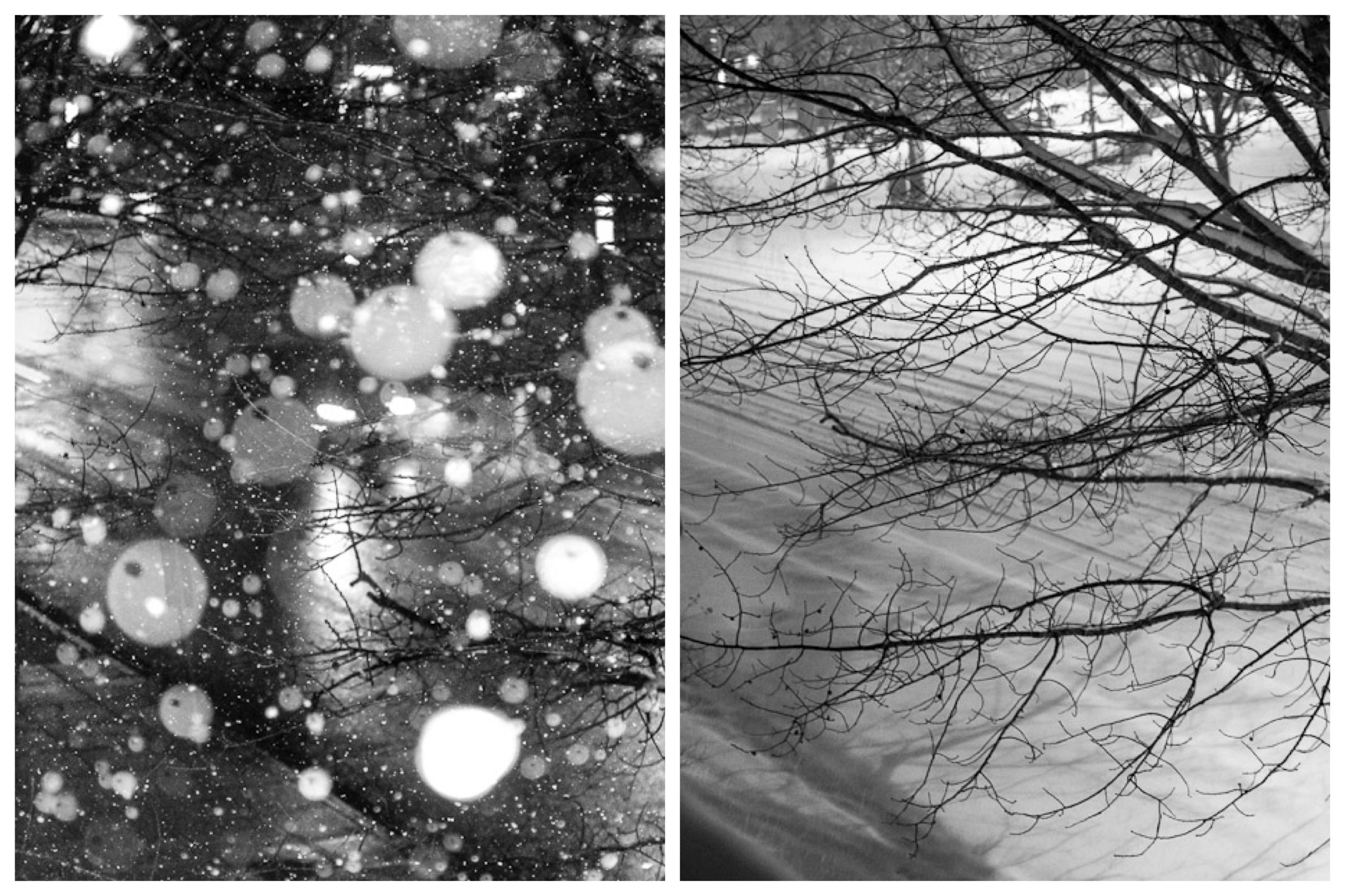 Light December snow on the right; Heavy February snowstorm on the right